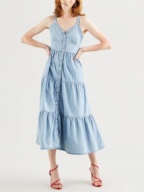 levis-tiered-midi-denim-dress-blue
