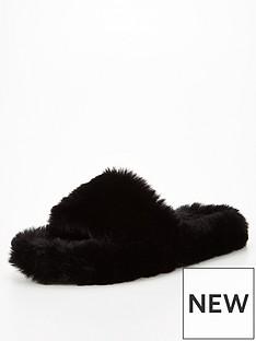 v-by-very-vita-faux-fur-slider-slipper-black