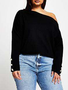 ri-plus-ri-plus-off-the-shoulder-knitted-top-black