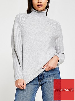 river-island-funnel-neck-knitted-jumper-grey