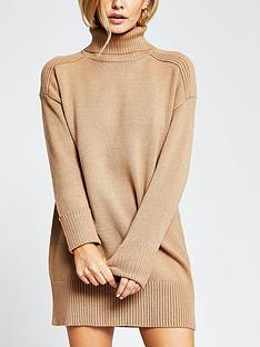 ri-petite-roll-neck-knitted-jumper-dress-tan