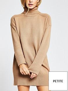 ri-petite-roll-neck-knitted-jumper-dress-tan