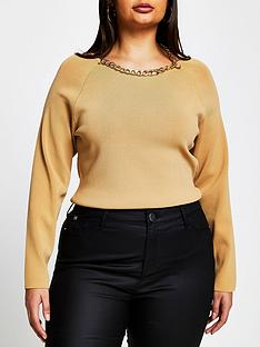 ri-plus-chain-detail-knitted-top-camel