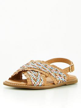 V By Very Girls Weave Sandal - Tan, Tan, Size 10 Younger
