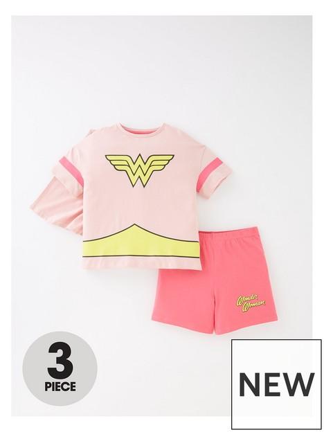 wonder-woman-girlsnbsp3-piece-cape-shorty-pj-set-pink