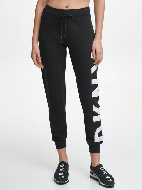 dkny-sport-exploded-logo-ribbed-cuff-sweatpants-black