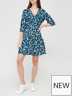 v-by-very-short-sleeve-printednbspbutton-through-mini-dress-floralnbsp