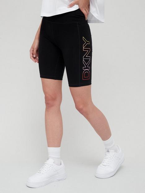 dkny-sport-ombre-logo-high-waist-bike-shorts-with-pockets-black