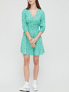 v-by-very-button-through-three-quarter-sleeve-mini-dress-green-print