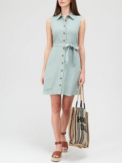 v-by-very-linen-button-through-shirt-mini-dress-sage-greennbsp