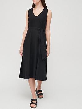 v-by-very-linen-blendnbspv-neck-tie-waist-midi-dress-black