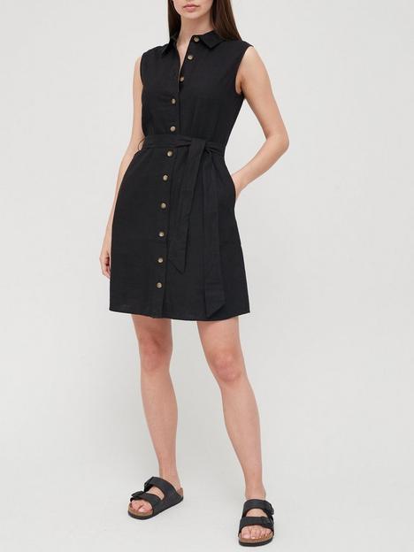 v-by-very-linen-blend-button-through-shirt-mini-dress-black