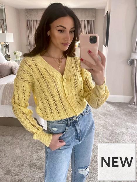 michelle-keegan-pointelle-knit-cardigan-yellow