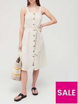v-by-very-linen-button-through-pinafore-dress-stripe