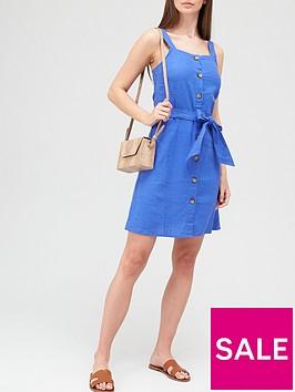 v-by-very-linen-button-through-pinafore-mini-dress-bluenbsp