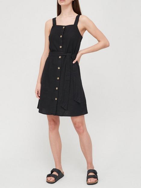 v-by-very-linen-blend-button-through-pinafore-mini-dress-blacknbsp