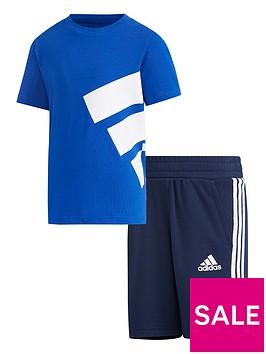 adidas-unisex-youngernbspbrand-t-shirt-amp-shortsnbspset-blue