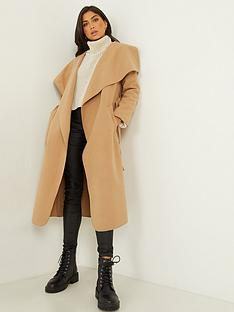 quiz-felt-long-sleeve-belted-waterfall-coat-camel