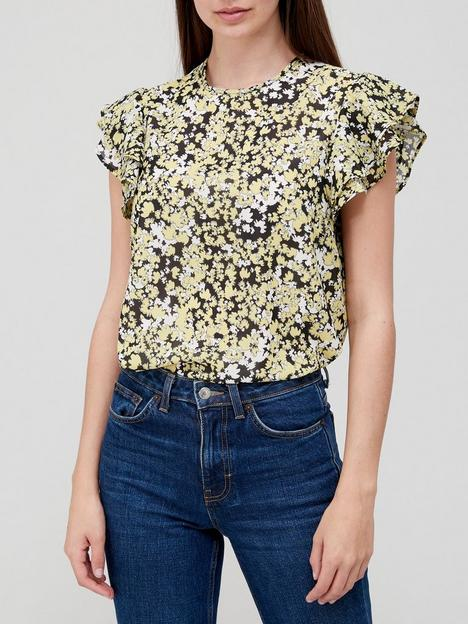v-by-very-printed-frill-sleeve-shellnbsptop-yellow-floral