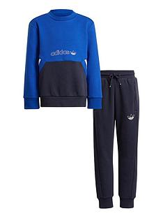 adidas-originals-unisex-younger-crew-neck-top-and-joggers-set-blue