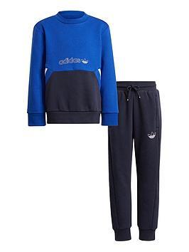 adidas-originals-unisex-younger-crew-neck-top-and-joggers-set-blue