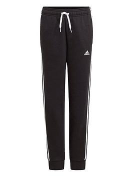 adidas-nbspboys-juniornbsp3-stripes-fleecenbspcuffed-pant-blackwhite