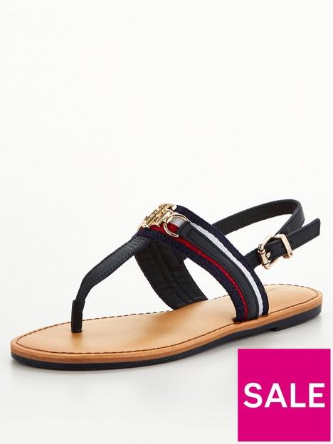 tommy-hilfiger-shimmery-ribbon-flat-sandal-navy