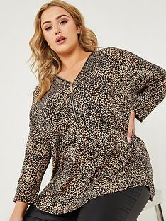 quiz-curve-quiz-curve-brown-light-knit-animal-print-zip-front-long-sleeve-top
