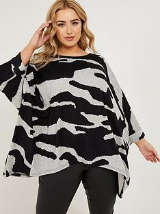quiz-curve-quiz-curve-blackgrey-light-knit-animal-print-round-neck-34-sleeve-asym-hm-top