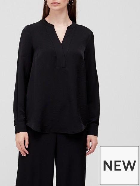 v-by-very-notch-neck-co-ord-blouse-black