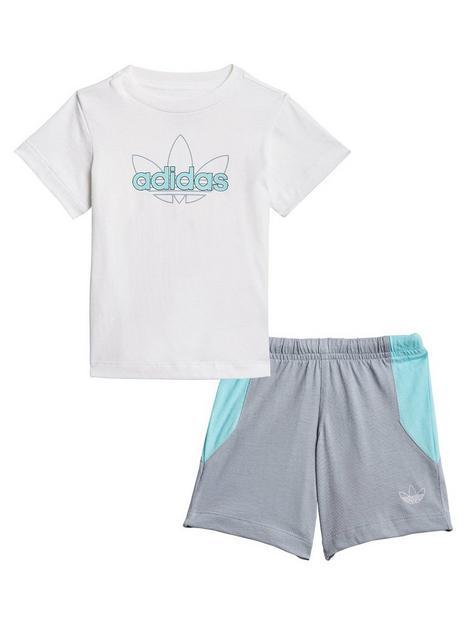 adidas-originals-unisex-infant-shorts-and-t-shirtnbspset-whitegrey