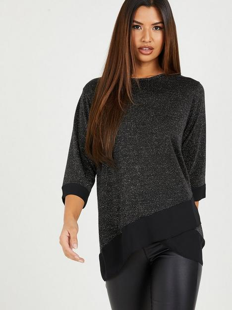 quiz-metallic-knit-cross-hem-top-black