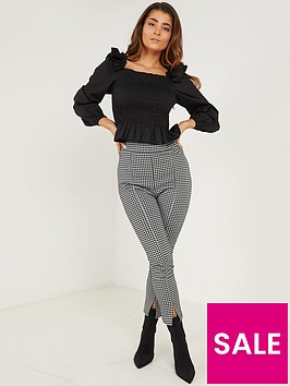 quiz-quiz-blackwhite-hounds-tooth-jacquard-split-front-high-waist-legging