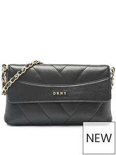 dkny-cici-crinkle-leather-quilted-convertible-clutch-bag-black