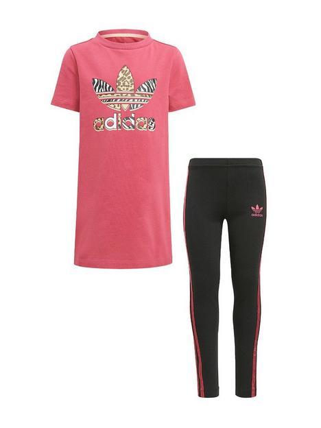 adidas-originals-unisex-younger-t-shirt-dress-set-pinkmulti