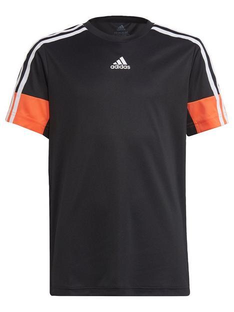 adidas-boys-junior-b-ar-3nbspstripe-short-sleeve-t-shirt-blackorange