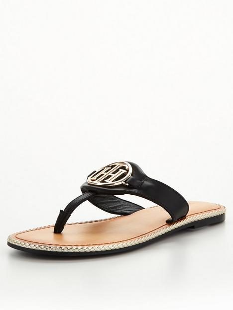 tommy-hilfiger-essential-leather-flat-sandal-black