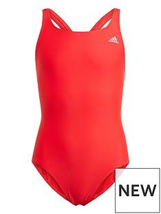 adidas-girls-junior-swimsuit-redwhite