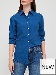 v-by-very-classic-linen-blend-long-sleeve-shirt-navy