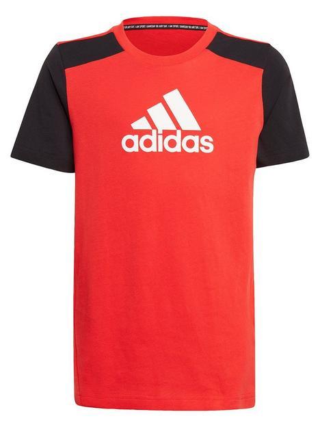 adidas-boys-junior-badge-of-sport-t-shirt-redblack