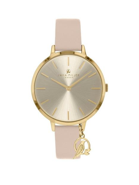 sara-miller-sara-miller-silver-sunray-and-gold-charm-dial-nude-leather-strap-ladies-watch