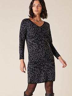 monsoon-recycled-poly-animal-jacquard-dress-charcoal