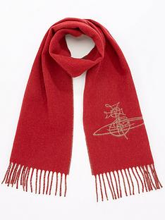 vivienne-westwood-double-face-orb-scarf-red
