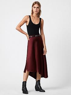 allsaints-ani-midi-skirt-red