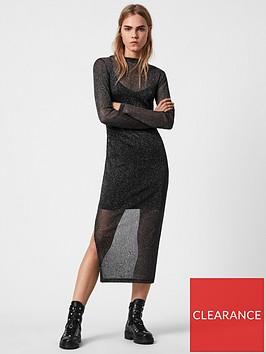 allsaints-francesco-metallic-dress-black