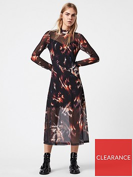 allsaints-hanna-flame-print-dress-black