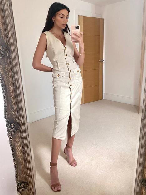 michelle-keegan-stretch-denim-pencil-dress-ivory