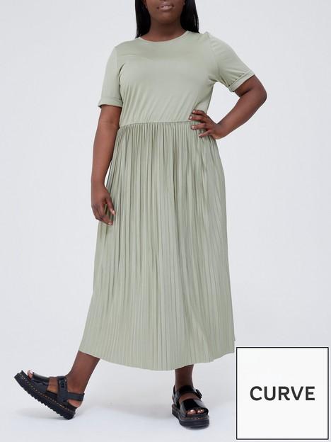 v-by-very-curve-pleated-skirt-midi-dress-khaki
