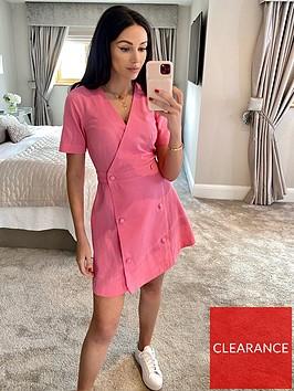 michelle-keegan-double-button-linen-look-mini-dress-pink