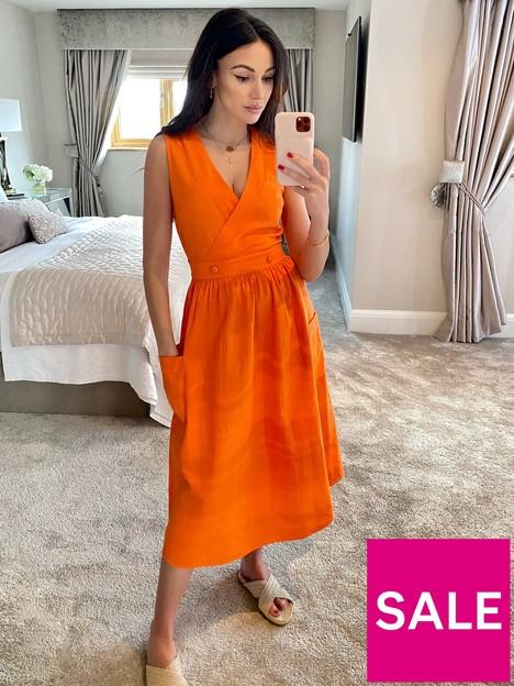 michelle-keegan-wrap-top-linen-looknbspmidinbspdress-orange